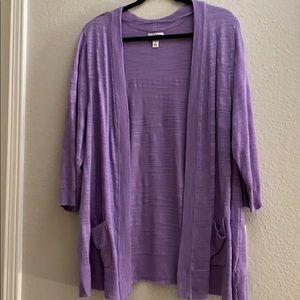 3/4 sleeve lavender Two pocket Boyfriend cardigan.